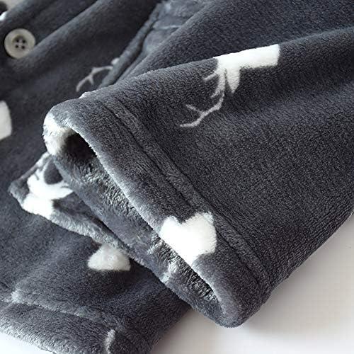 メンズ パジャマもこもこ冬 寝巻きあったか上下セット メンズ部屋着ルームウェア 衿付き紳士 長袖 前開き 大きいサイズ 厚手柔らか 秋冬フランネル ポケット付き ふんわりナイトウェア