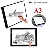 LED Copy Board, A3 Super Thin LED Drawing Copy Tracing Light Box Track Light with Dimmable Brightness Adjustable Tattoo Sketch Architecture Calligraphy Crafts for Drawing, Animation, Sketching, Designing (USB Power)