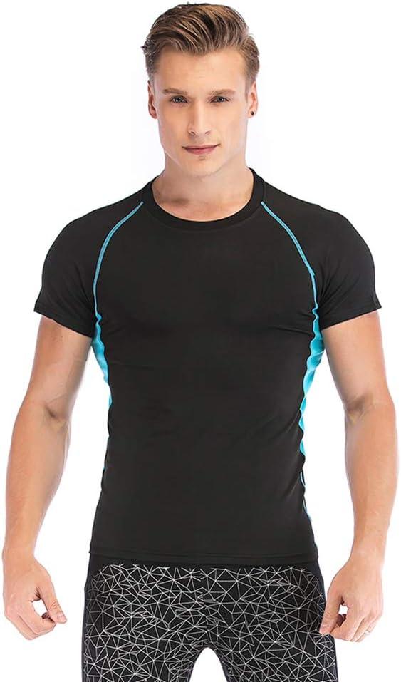 SKYSPER Camiseta Deportiva Hombre de Manga Corta Camiseta de Compresión para Hombre Ropa Interior Apretado Deportes Transpirable Secado Rápido para Running Fitness Entrenamiento Yoga Ciclismo