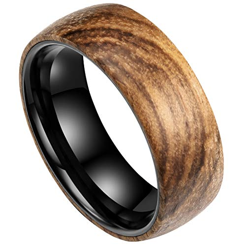 - DOUX 8mm Mens Black Tungsten Carbide Wedding Ring Wood Inlay Surface High Polished Domed Style 14