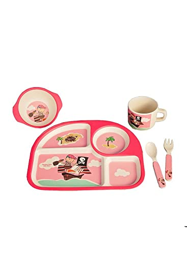 Eco Bamboo Fiber Fun 5 Piece Kids Tableware Set (Pink - Little Miss Pirate)  sc 1 st  Amazon.com & Amazon.com : Eco Bamboo Fiber Fun 5 Piece Kids Tableware Set (Pink ...
