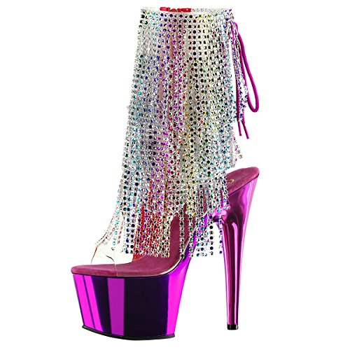 Fransen Stiefelette, Poledance Damen High-Heels, Violett (Fuchsia) Violett (Fuchsia)