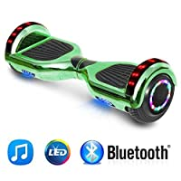"NHT 6.5"" inch Aurora Hoverboard Self Balancing Scooter With Built-In Bluetooth Speaker Colorful LED Wheels and Lights- UL2272 Certified Carbon Fiber Style Available"