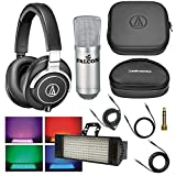Audio Technica ATH-M70x Professional Monitor Headphones with Falcon UC-01 Professional Condenser Studio Microphone with Shock Mount and Falcon FL104 Electro Box RGB LED Bundle