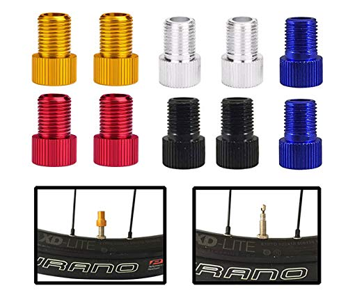 LETUSPORT 10 PCS Presta Valve Adapter Convert Presta to Schrader Bike Pump Air Compressor Accessories (10 Pack Assorted Color)
