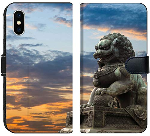 Apple iPhone Xs Flip Fabric Wallet Case Image ID: 10463217 Majestic Lion Statue with Sunset Glow Traditional Chinese Culture sy (Statue Sale Chinese Lion For)