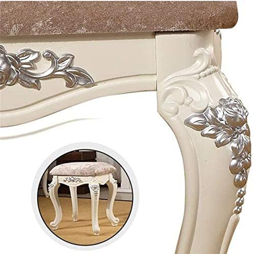 Dressing Tabouret, Continental Sculpté de Haute qualité en Bois Tissu Dresser Meubles Chaussures Tabouret H456 X W31 X L45cm 115 923 (Size : 5)