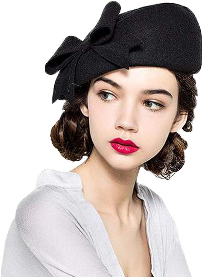 Vintage Hats   Old Fashioned Hats   Retro Hats F FADVES 100% Wool Beanie Hat French Dress Beret Winter Hat Vintage Fascinator Hats $38.99 AT vintagedancer.com
