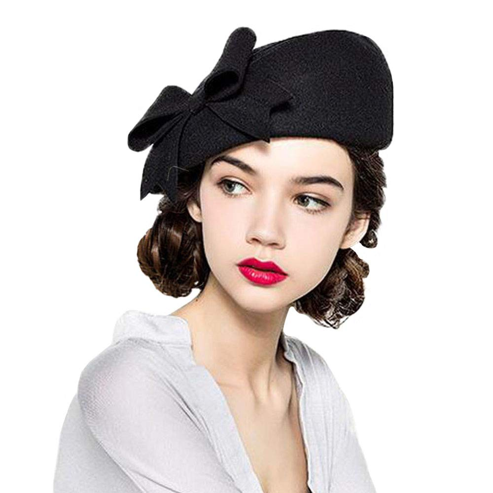 F FADVES 100% Wool Beanie Hat French Dress Beret Winter Hat Vintage Fascinator Hats Black by F FADVES