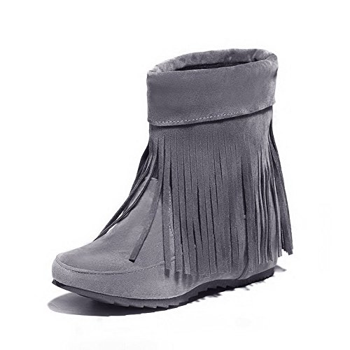 Mid On Heels Pull Closed Gray Frosted Top Boots Round Women's Low AmoonyFashion Toe 5Iw6fxBqw