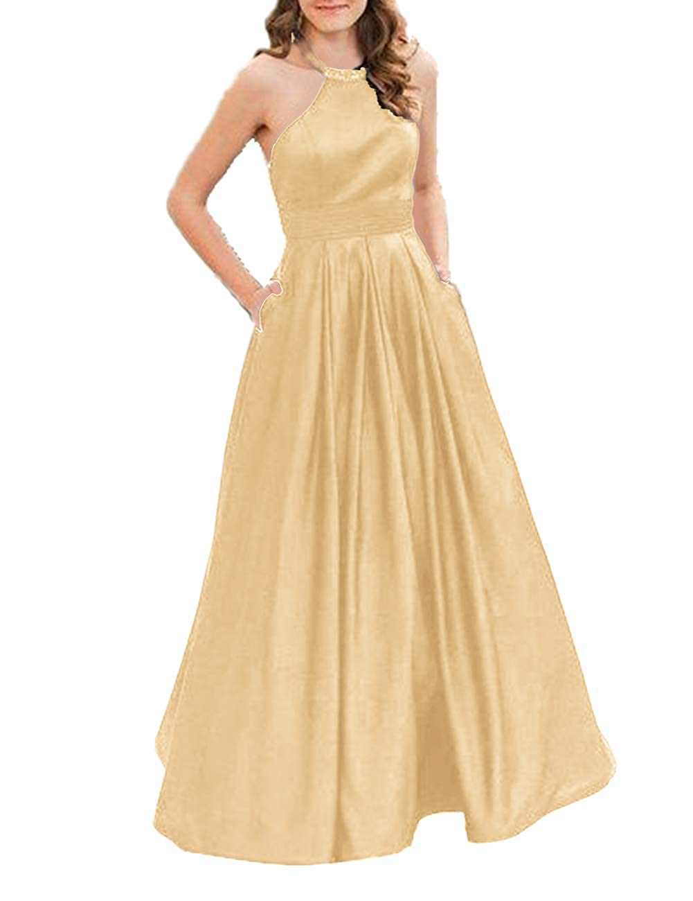 Champagne JAEDEN Prom Dress Long Evening Dresses for Women Formal Evening Gowns Halter Prom Dress 2019