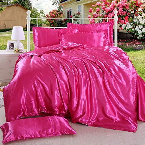 4 Pcs Bedding Set,Satin Charmeuse Sheet Set Suit for Living Room Bedroom Decor,King Soft Silk Feel Simple Plain Luxury Quilt Cover Pillowcase (hot Pink) ()