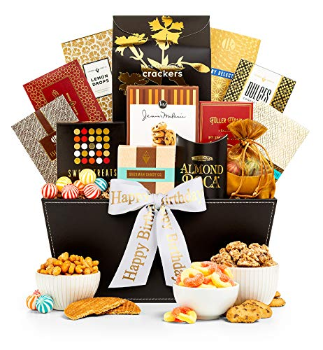 GiftTree Happy Birthday Grand Reception Gift Basket | Caramel Stroopwafel, Peach Rings, Lemon Drops, Tropical Mix, Assorted Nuts, Chocolate Chip Cookies | Perfect Way to Celebrate Their Special Day
