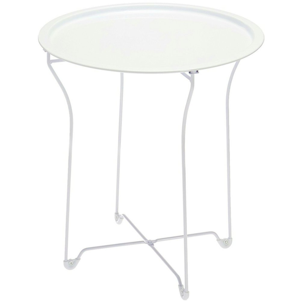 Metal Patio Side Table with Removable Tray Top White Lightweight Modern Folding Outdoor Yard and Garden Accent Table Round Multipurpose Curved Small End Table eBook by Easy&FunDeals