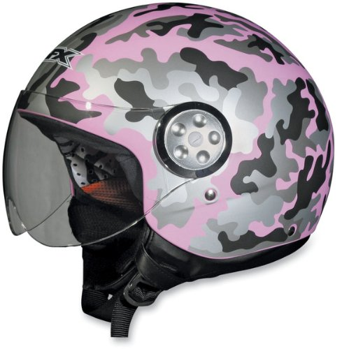 AFX FX-42A Pilot Style Open Face Motorcycle Helmet Camo Pink XXL