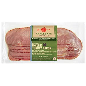Applegate Antibiotic Free Uncured Turkey Bacon, 8 Ounce -- 12 per case.