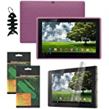 iShoppingdeals - Pink Soft Silicone Skin Cover Case + Anti-Fingerprint Anti-Glare Matte Finishing Screen Protector for ASUS Eee Pad Transformer TF101