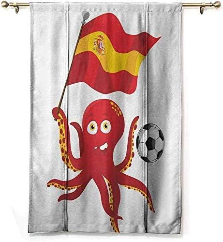 Wild One Curtain Aislamiento Blackout Persianas Divertido Pulpo Jugador De Fútbol España Bandera Fútbol Europeo Barcelona Madrid Valencia Amante del Deporte Clip Acento,W122 X H183 CM/48X72 Pulgada: Amazon.es: Hogar