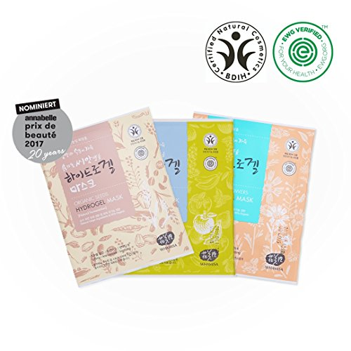 - Whamisa Organic Facial Mask 33g x3 (Flowers & Aloe Vera + Fruits & Tomato + Seeds & Rice Fermented Hydrogel, PACKAGING MAY VARY) - EWG Verified