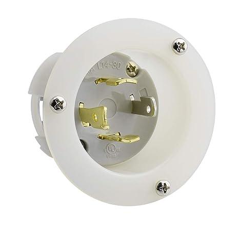 cllena nema l14-30 flanged inlet generator plug, 30a 125/250 volt 4 prong  locking receptacle socket, grounding welding use 7500 watts: amazon ca:  tools