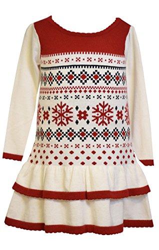 Bonnie Jean Little Girls' Fairisle Sweater Dress, Ivory, 6
