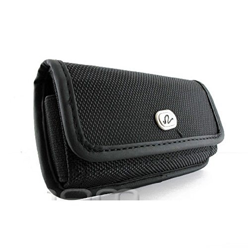 Cell Phone Case for Sony Ericsson K770 Heavy Duty Secure Rugged Horizontal Canvas Nylon Pouch Bag with Metal Belt ()