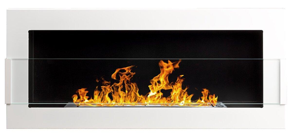 900x400 mm Gelkamin Bio-Ethanolkamin Biokamin Wandkamin weiß + Glasscheibe inkl. Halterung (TÜV - Rheinland geprüft) GLOBMETAL