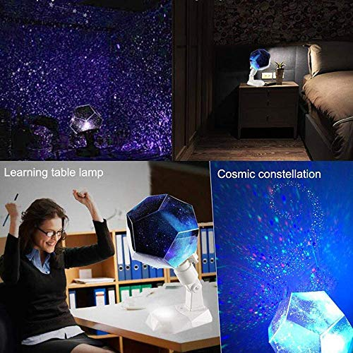 Freyamall Rechargeable Multifunctional Star Projector Night Light Table lamp, Romantic 12 Constellation Rotating Lights with USB Cable for Kids Baby Bedroom, Decorations for Christmas Birthday Party
