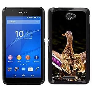 // PHONE CASE GIFT // Duro Estuche protector PC Cáscara Plástico Carcasa Funda Hard Protective Case for Sony Xperia E4 / Duck Pond Nature Spring Bird Water /