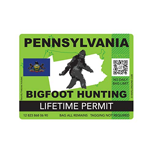 fagraphix Pennsylvania Bigfoot Hunting Permit Sticker Die Cut Decal Sasquatch Lifetime FA Vinyl - 4.00 Wide
