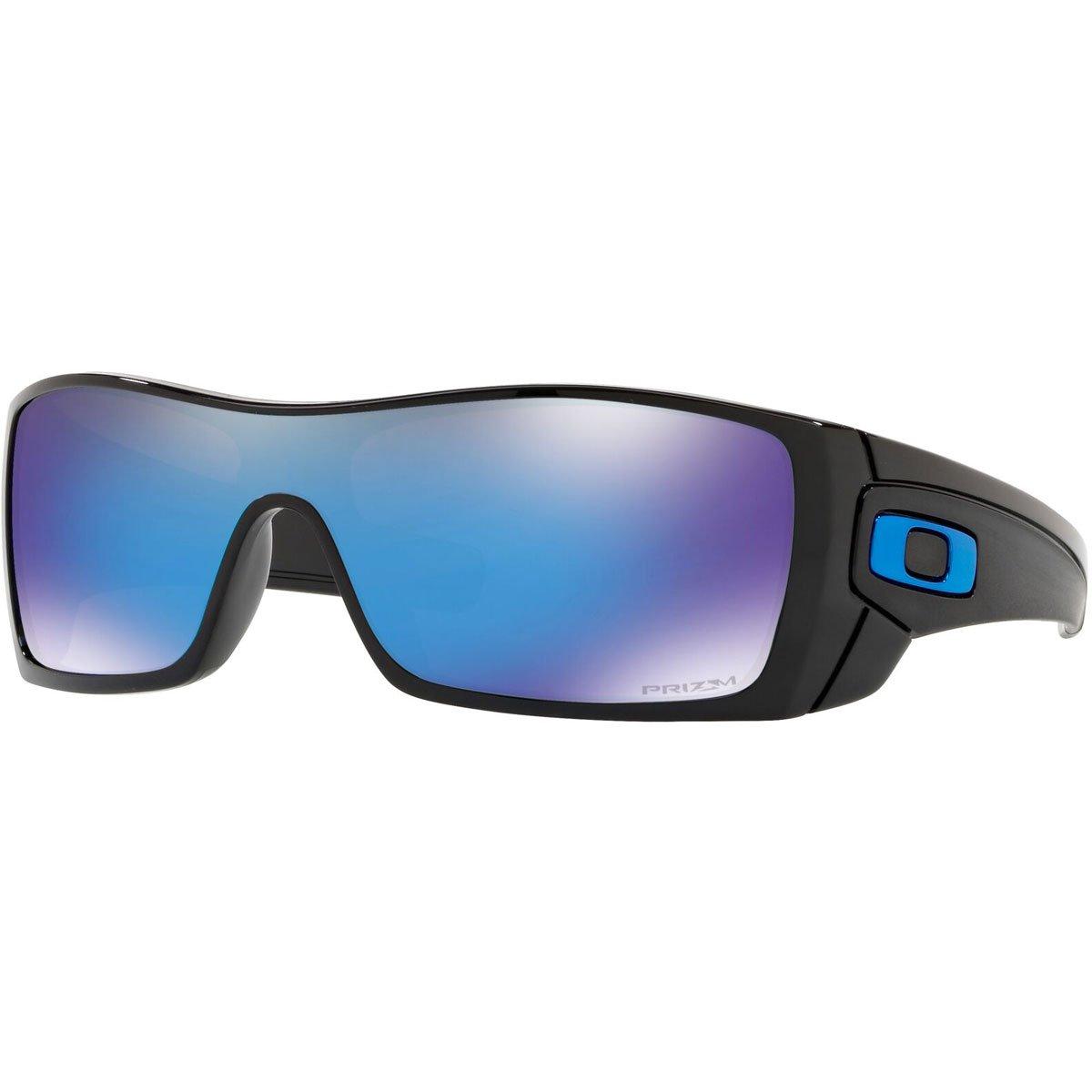 Oakley Men's OO9101 Batwolf Shield Sunglasses, Polished Black/Prizm Sapphire, 58 mm by Oakley