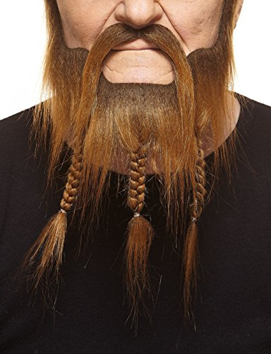 Mustaches Self Adhesive, Braided, Captain Beard and Fake Mustache, False Facial Hair, Costume Accessory for Adults, Brown Color ()