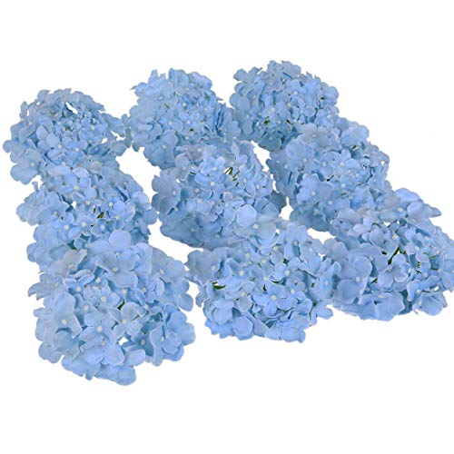 (Luyue Silk Hydrangea Heads Artificial Decoration Flowers Garden Floral Decor,Pack of 10 (Sky Blue))