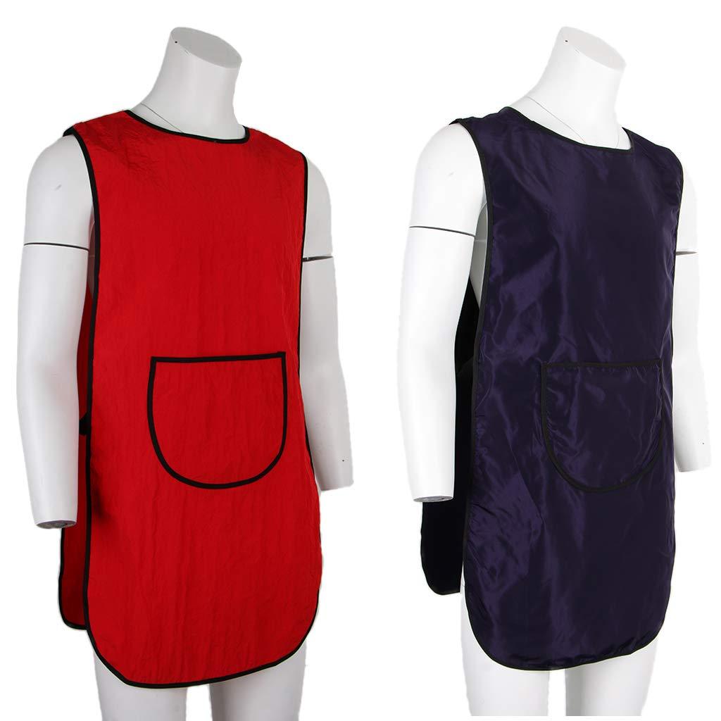 IPOTCH Delantal de Peluquería Vestidos de Corte de Pelo Capa Peluquero Estilista Batas - Rojo: Amazon.es: Belleza