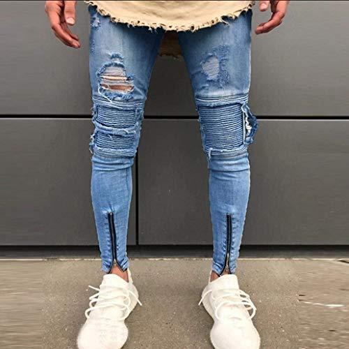 Slim Vaqueros Regulares Deshilachados Pantalones Pitillo Ohq Pantalones Vaqueros Hombres Pantalones Vaqueros Ropa Elásticos para Ajustados Slim Blau ADELINA 07ZFx