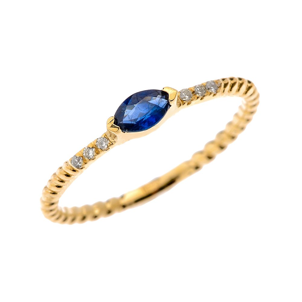 10k Yellow Gold Dainty Diamond and Marquise Sapphire Rope Design Stackable/Proposal Ring(Size 9.75)