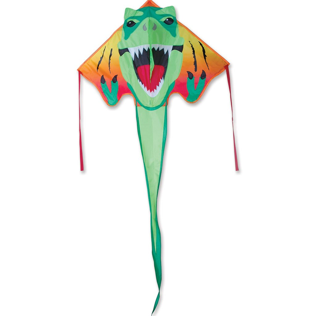 Large Easy Flyer Kite - T-Rex Dinosaur (46'' X 90'') with 300 Ft 30lb Test Kite String and Winder by Premier Kites