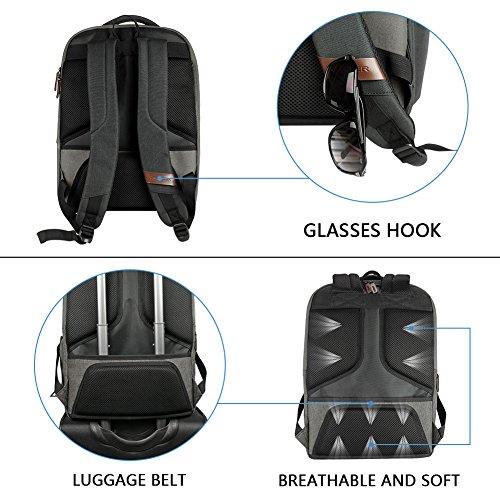 KROSER Laptop Backpack 17.3 Inch Computer Backpack School Backpack Casual Daypack Water-Repellent Laptop Bag with USB Charging Port for Travel/Business/College/Women/Men-Grey by KROSER (Image #5)