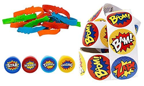 Superhero Party Supply Set: Superhero Sticker Roll (100 Stickers), 24 Piece Superhero Sayings Bracelets, & 24 Plastic Superhero Stampers - Great Addition To Your Superhero Party Supplies & Favors]()