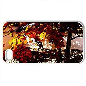 AUTUMN TREE - Case Cover for iPhone 4 and 4s (Watercolor style, White)