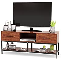 TV Stand, Tribesigns 59 Entertainment Center with Two Drawers and Sturdy Metal Base, 3-Tier TV Console Entertainment Stand for Living Room, Light Walnut Finish