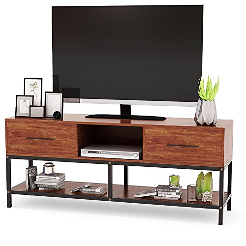 TV Stand, Tribesigns 59' Entertainment Center with Two Drawers and Sturdy Metal Base, 3-Tier TV Console Entertainment Stand for Living Room, Light Walnut Finish