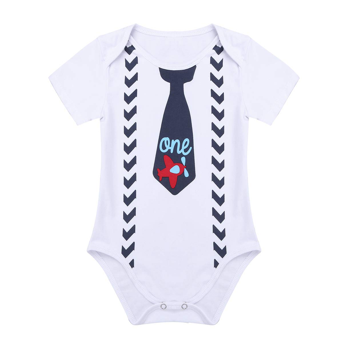 FEESHOW Baby Boys 1st Birthday Outfit Short Sleeve Bodysuit One Piece Gentleman Romper Suspender Straps with Bow-tie