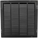 24'' X 24 Steel Return Air Filter Grille for 1'' Filter - Removable Face/Door - HVAC DUCT COVER - Flat Stamped Face - Black [Outer Dimensions: 26.5''w X 26.5''h]