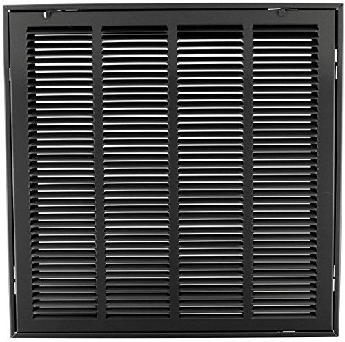 25'' X 25 Steel Return Air Filter Grille for 1'' Filter - Removable Face/Door - HVAC DUCT COVER - Flat Stamped Face - Black [Outer Dimensions: 27.5''w X 27.5''h] by HVAC Premium