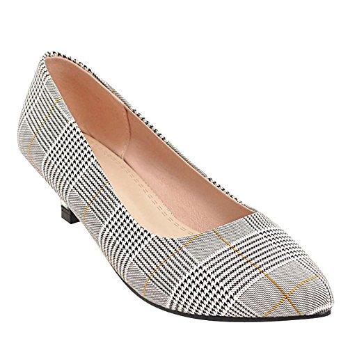 Carolbar Women's Fashion Plaid Kitten Heel Pointed Toe Court Shoes Yellow