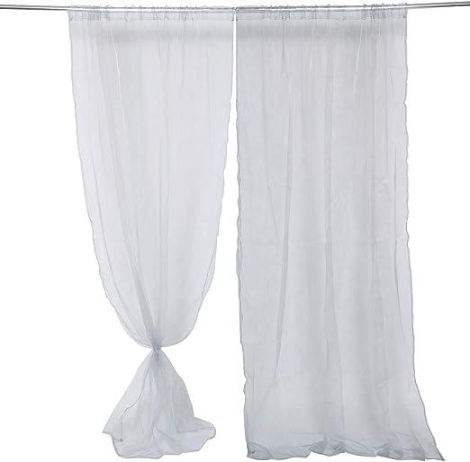 Anladia 2 Pieza Cortinas de Tul Visillos Cortinas de Gasa para Puerta Ventanas de Salón Dormitorio Habitación (Gris, 229): Amazon.es: Hogar