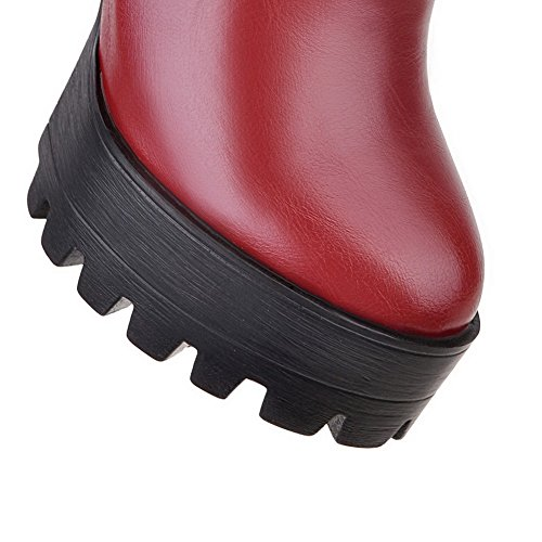 con Rojo Botas Cremalleras Tacón ancho Mujeres Baja AllhqFashion Metal Sólido Caña nxv810