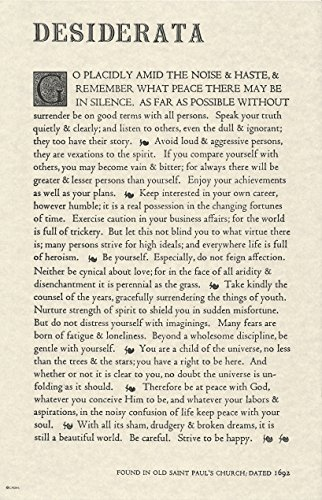 The Desiderata Poem by Max Ehrmann. 11 X 17 Poster on Archival Parchment Paper