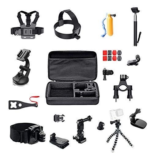 ParaPace 16 in 1 Action Camera Accessory Kit for GoPro Hero 8/7/6/5/4/3+ Hero Session 5 Black Fusion Accessories DJI OSMO Action Yi AKASO SJ4000/SJ5000/SJ6000 DBPOWER Rollei Campark, New Year Gift